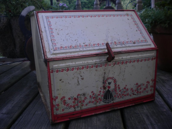 SALERusty Eclectic Antique Bread Box by HitOrMissTreasures on Etsy, $28.00