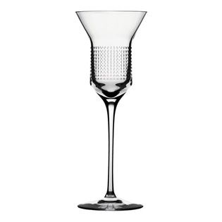 "Bomma - 6.8 oz Dots Collection Crystal White Wine Glass --  In the middle of the drinking vessel, designer Olgoj Chorchoj placed a cylindrical body to serve as the ideal gallery for ornamental decor. Combined with Bomma's motto of ""technology through an ornament"", Chorchoj applied a number of elementary dot and dash machine interventions."