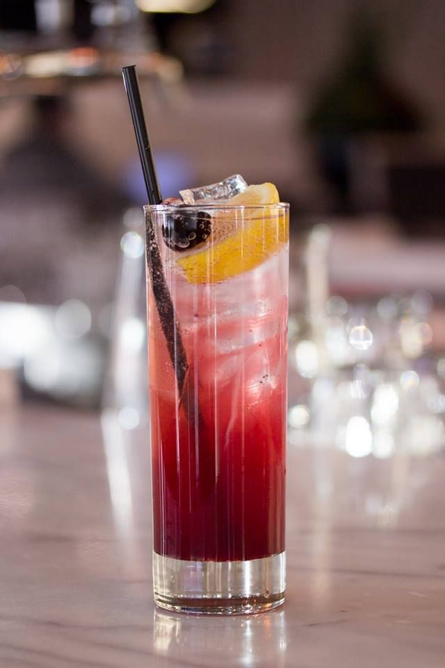 Blueberry Collins - beefeater gin, blueberry juice, green tea and soda — at Luma. #Toronto #restaurant #cocktails #food