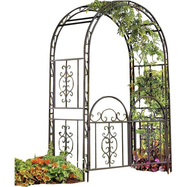 "The Montebello garden arbor is beautifully crafted with intricate scrollwork that will bring style to your garden even without a flowering display. The design is reminiscent of the ornate wrought-iron designs that adorn the windows and gates of Turkish homes.This square tubular iron arch has rustproof stainless hardware and the best-quality, burnished gunmetal finish. The Montebello garden arbor comes with 7"" ground stakes to ensure stability. Easy assembly required."