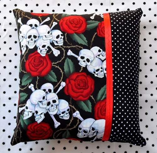 """13""""x14"""" Skulls & Roses and Polka Dots Throw Pillow - Rockabilly / Psychobilly home decor - $12.20 - Sabbie's Purses and More"""