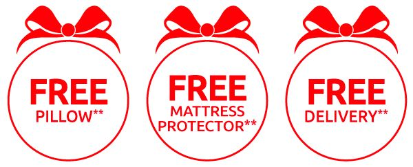 FREE PILLOW**, FREE MATTRESS PROTECTOR**, FREE DELIVERY**