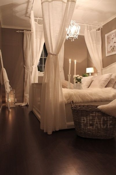 Simple canopy bed idea.... Without a canopy bed! I love this look!