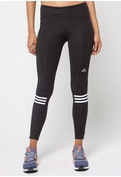 adidas response long tights from adidas in black and white_1