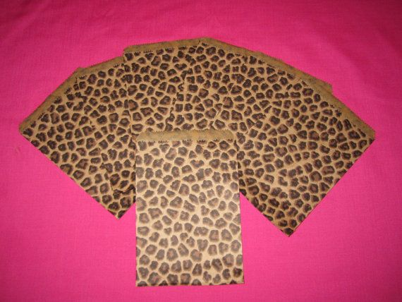 20 Cheetah Print Party Favor Bags 5X7 by SherylDsTreasures on Etsy, $1.75