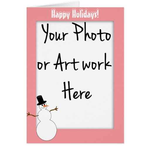 Snowman Pink Photo Frame Template (Add Your Photo) Greeting Card