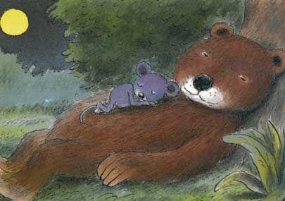 Ontwerp: Erwin Moser titel: Muis en beer , illustratie uit het boek -Het verhaal van de muis-. Postkaart