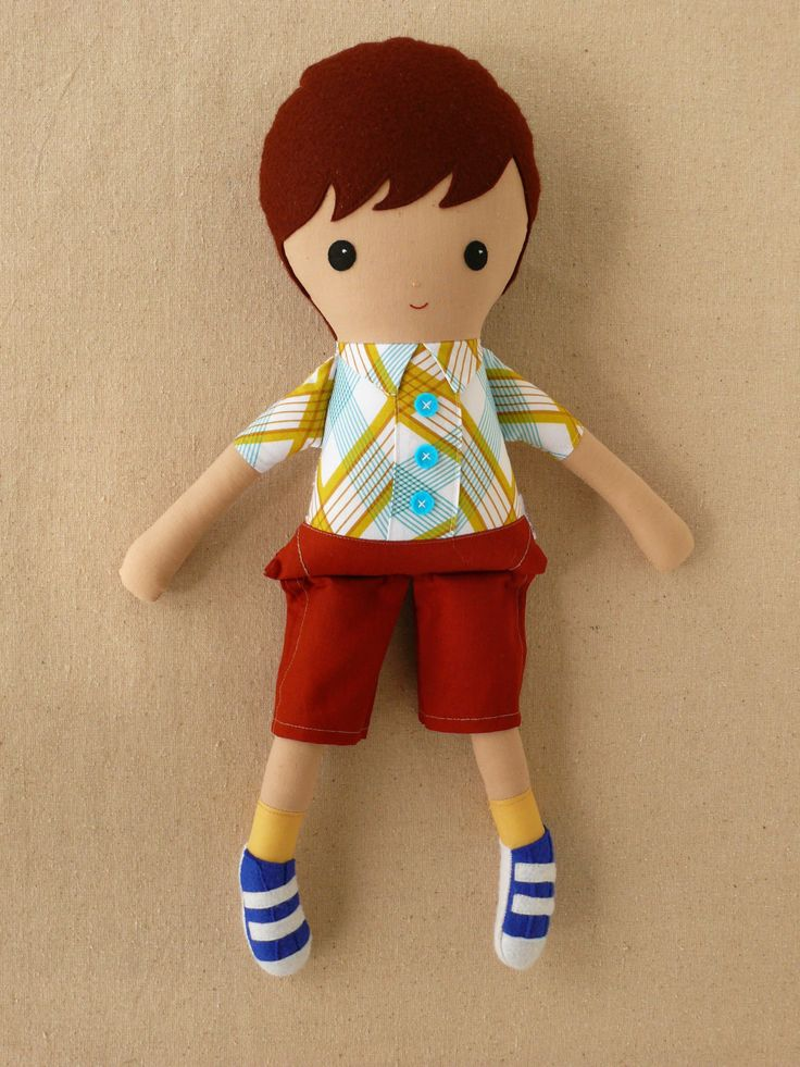 Fabric Doll Rag Doll Boy Doll in Plaid Shirt. $36.00, via Etsy.