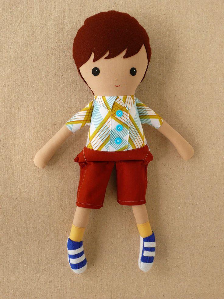 Fabric Doll Rag Doll Boy Doll in Plaid Shirt. $36.00, via Etsy.