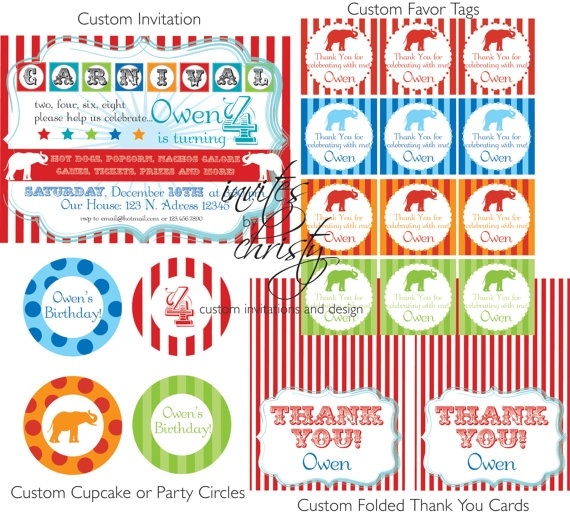 printables: Party Time, Party Package, Carnival Birthday, Carnival Party, Party Ideas, Vintage Carnival, Birthday Party