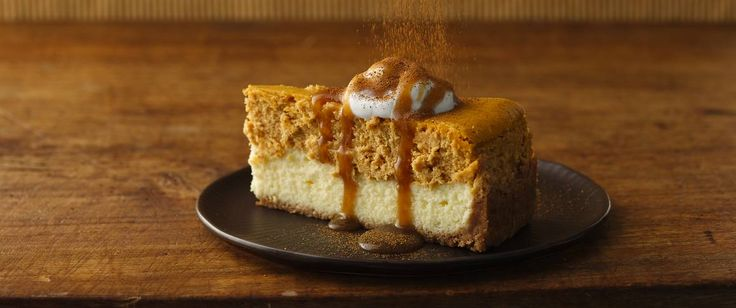 Treat your guests with a creamy pumpkin cheesecake that's topped with caramel-rum sauce.