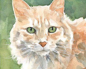 Gato negro acuarela pintura impresión 5 x 7 por studiotuesday