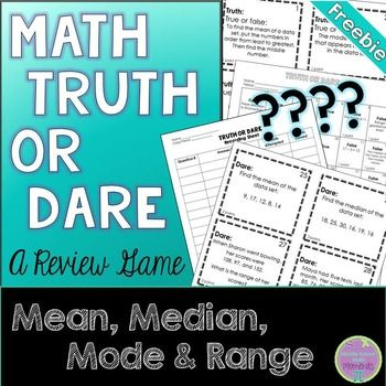 "FREE 5-6th Mean, Median, Mode & Range Truth or Dare Review Game Print, copy, cut and play! This easy to prep game offers students a choice of question types - a ""truth,"" which is a true or false question addressing vocabulary or more basic mean, median, mode and range questions; or a ""dare,"" which addresses more difficult MMMR questions."