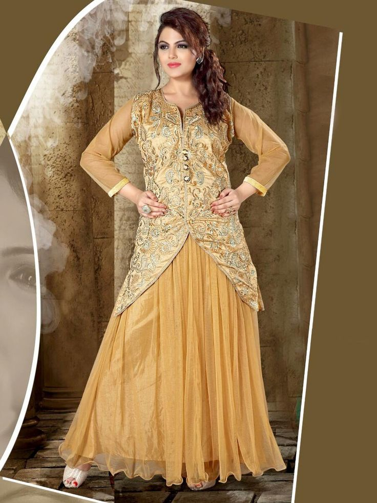Dazzling beige color net gown with resham, zari thread work. Item Code: GTF3012  http://www.bharatplaza.com/new-arrivals/gowns.html