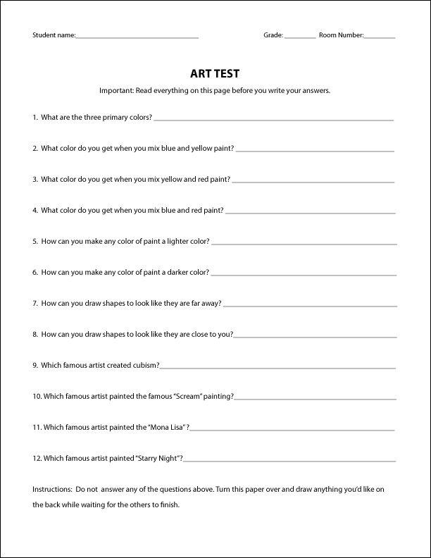 Art Quiz : Best images about art worksheets handouts on