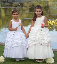 Flower Girl Dresses - Sweetie Pie Collection Style 449 - White or Ivory Dress with Choice of 20 Sash and Rosette Options