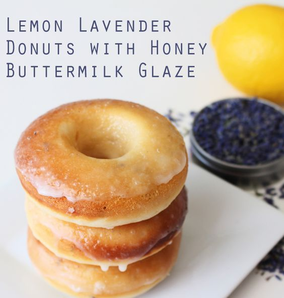 Lemon lavender donuts with honey buttermilk glaze. See the recipe at http://everclevermom.com/2014/03/recipe-lemon-lavender-donuts-with-honey-buttermilk-glaze/