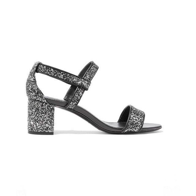 Sandro Aurele Glittered Leather Sandals