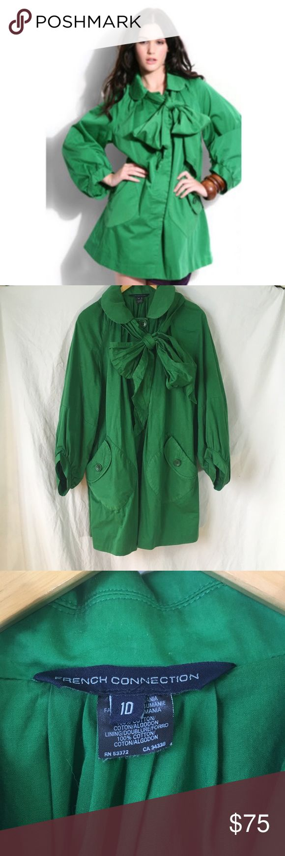 """French Connection lawn green jacket with bow Excellent used condition. 3/4 sleeves bust 22"""" length 33"""" sleeves 21"""" French Connection Jackets & Coats"""