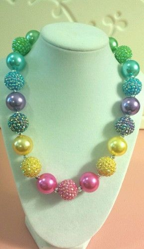 New Girls Handmade Chunky Bubblegum Beaded Necklace Kids Acrylic Very Pretty | eBay