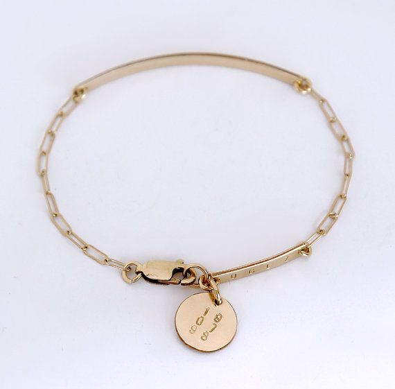 Gold bar bracelet with pendant / Gold nameplate by shopLUCA