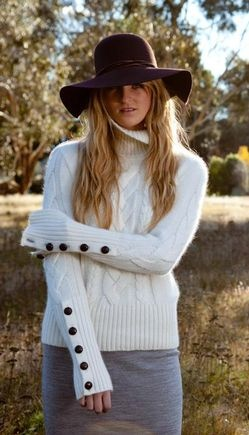Cable Polo Jumper - SNOW WHITE - piece, famous, date, gorgeous, cable, knitted, ... - Campaign for Wool NZ Brand Partner Christina Perriam Fashion #wearablewool