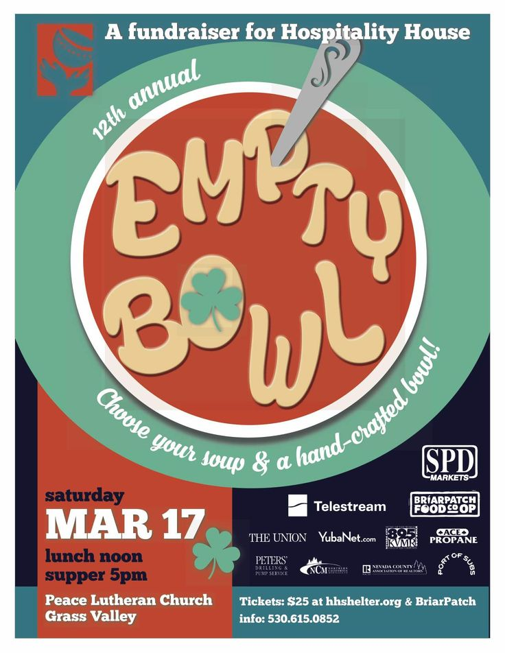 Hospitality House Empty Bowl event, Saturday, March 17th, noon and supper, Peace Lutheran Church, #GrassValley