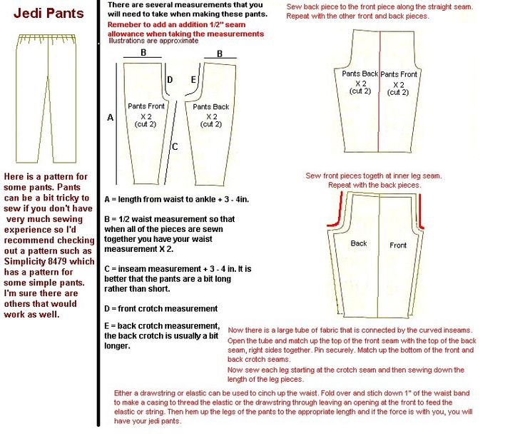 jedi/karate pants pattern