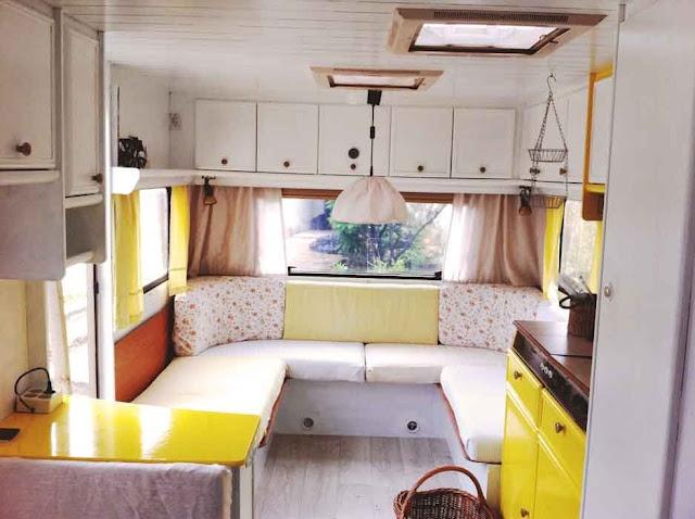 Shape of sofa-ab.  trailer interior
