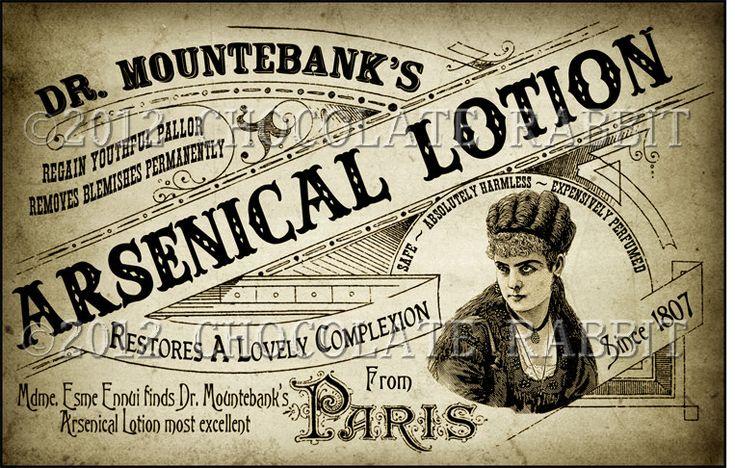 Victorian Vintage Label Ladies Arsenic Lotion Digital Download Collage Sheet Scrapbook Tag