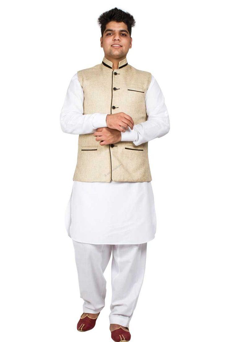 Andaaz New ethnic mens Beige Cotton and Jute Waistcoat. It is prefect to wear on every Kurta Pajama.  http://www.andaazfashion.com/men/kurta-pajama