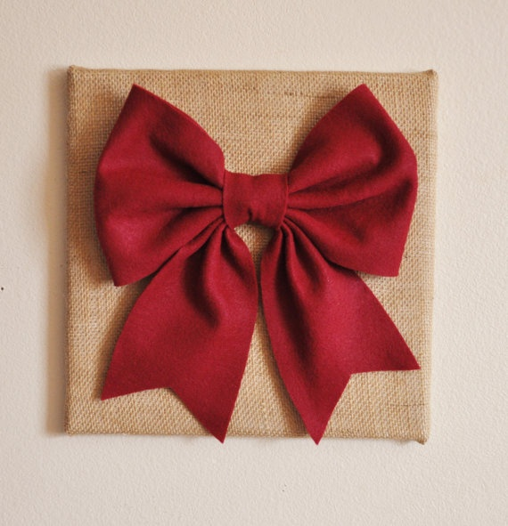 Large Cranberry Bow on Burlap 12 x12 Canvas Wall Art by bedbuggs, $34.00