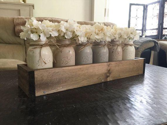 Mason jar planterbox centerpiece farmhouse by NorthernOaksDecorCo