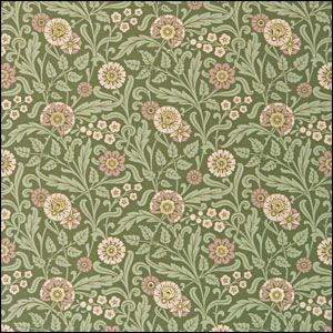"""Mason & Wolf Aesthetic Movement Wallpaper. Eden :: Olive. $60/roll. 27"""" wide; 14.5"""" repeat"""