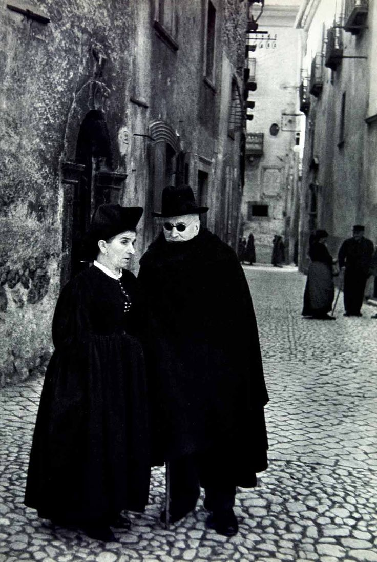 In the streets of Scanno, Italy, 1955  photo by Henri Cartier-Bresson Uh I'm probably related to those people :)