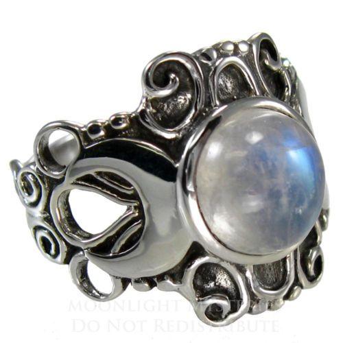 grande ss esterlina anel de lua tripla deusa moonstone prata sz 4-15 wicca pagão                                                                                                                                                                                 Mais