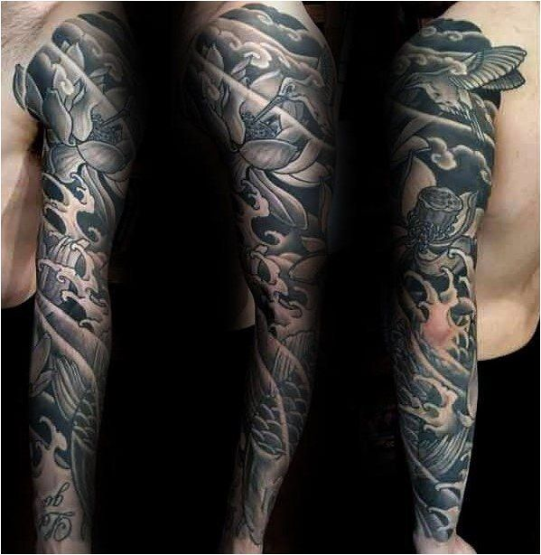 Tattoo Black And Grey Ink Mens Lotus Flower Full Sleeve Tattoos Click To See More Tattoo Designs Men Full Sleeve Tattoos Lotus Flower Tattoo Design