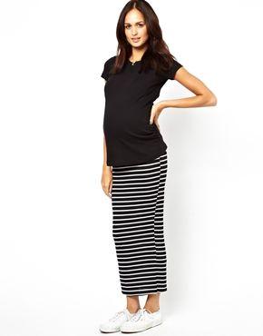 New Look Maternity Stripe Tube Maxi Skirt