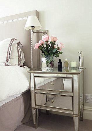 bedroom nailhead trim headboard mirrored nightstand sub chests for nightstands. beautiful ideas. Home Design Ideas