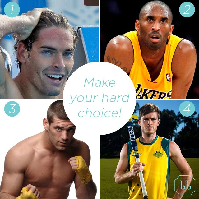 It's active Man Hour!!!Which is your favourite player? 1.Camille Lacourt (swimming) - 2.Kobe Bryant (basketball) - 3.Clemente Russo (boxing) - 4.Fergus Kavanagh (hockey)