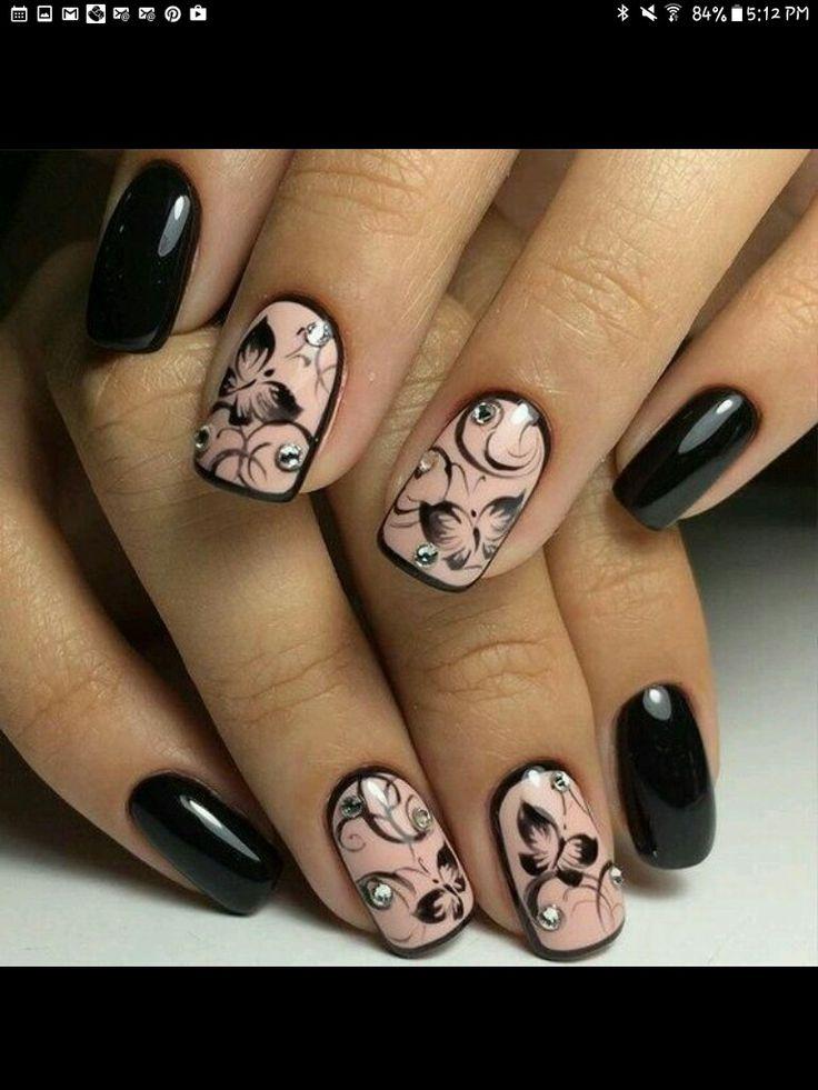 Black & light pink nails