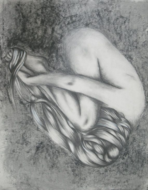 Original graphite and charcoal drawing.