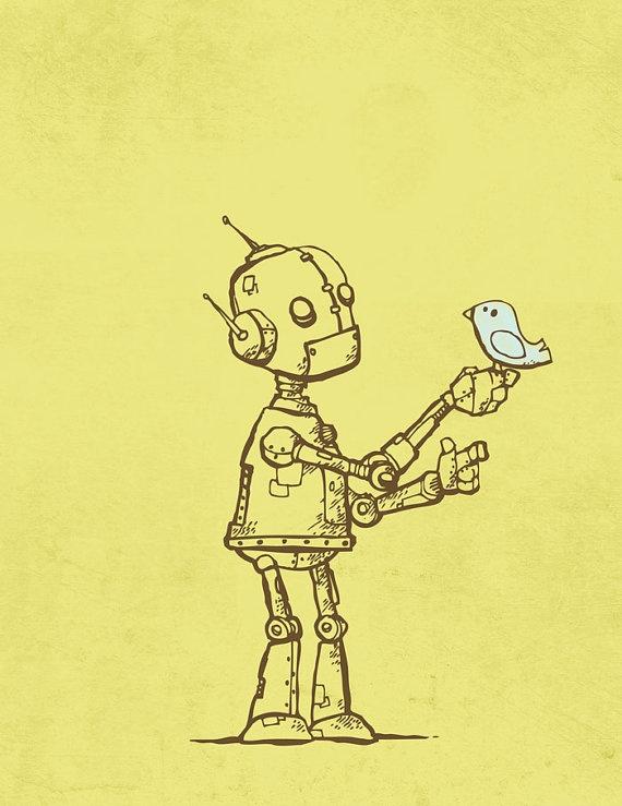 A robot and bird by Michael Murdock.