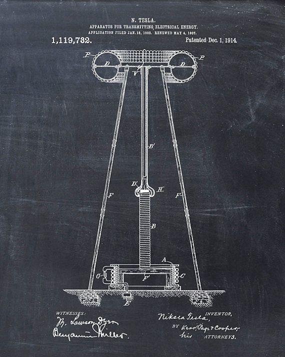 Patent Print  Tesla Coil  Tesla Wall Art  Tesla by VisualDesign, $6.95