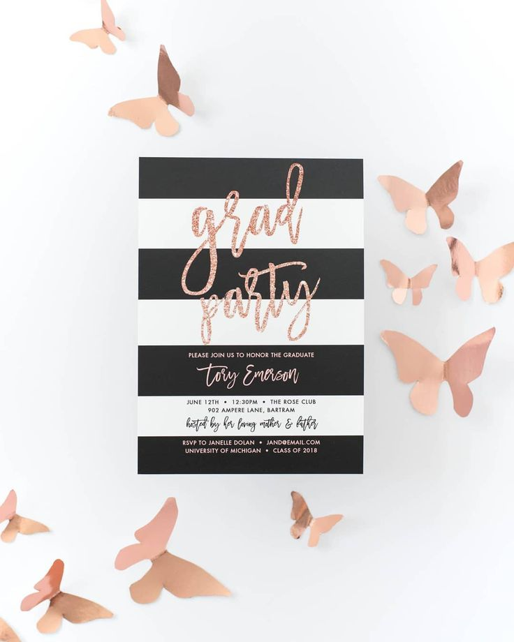 Tory Blush Pink Glitter Graduation Party Invitation