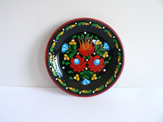 Hungarian-Made Floral Folk Art Porcelain Decorative Wall Plate - by Granit
