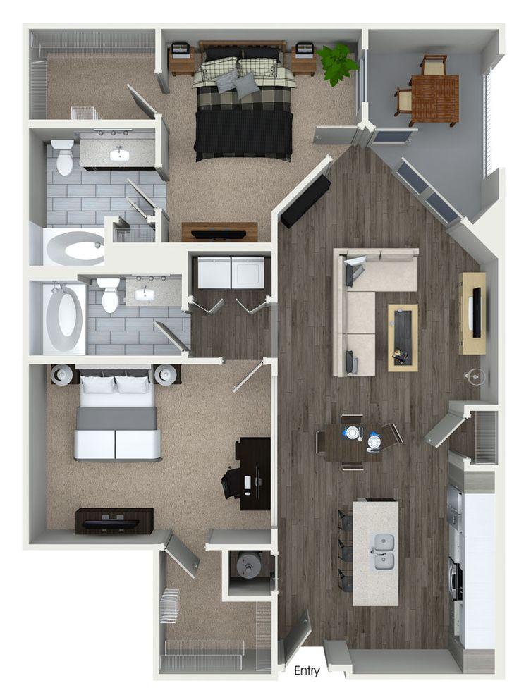 2 bedroom 2 bathroom floorplan at 555