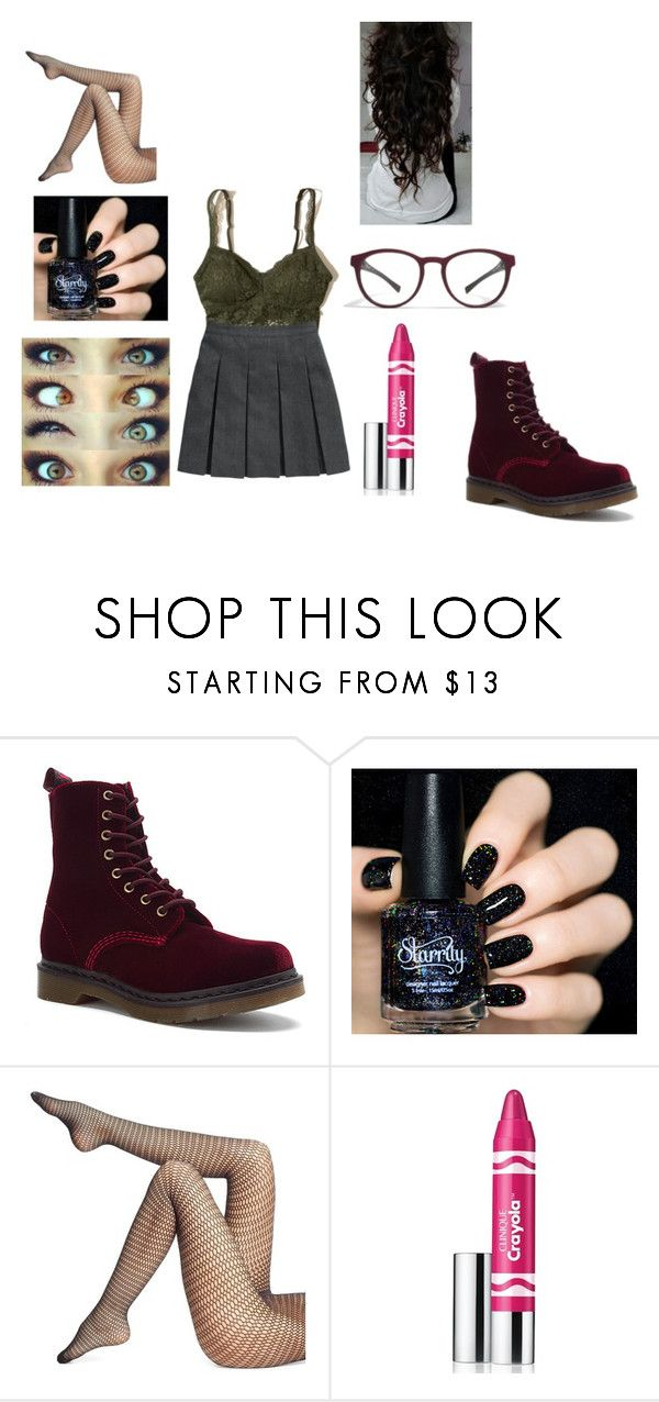 """""""Untitled #1088"""" by pooka515 on Polyvore featuring Dr. Martens, Mykita, Wolford, Clinique and Hollister Co."""