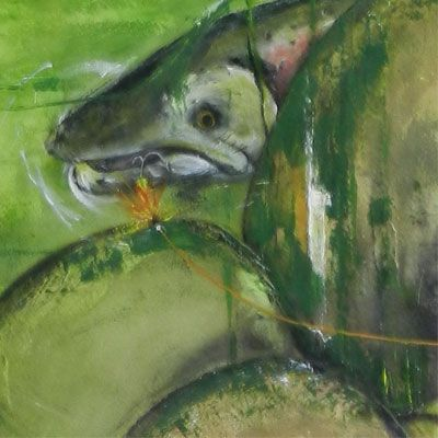 Maleri: Fisk bag sten - nærstudie