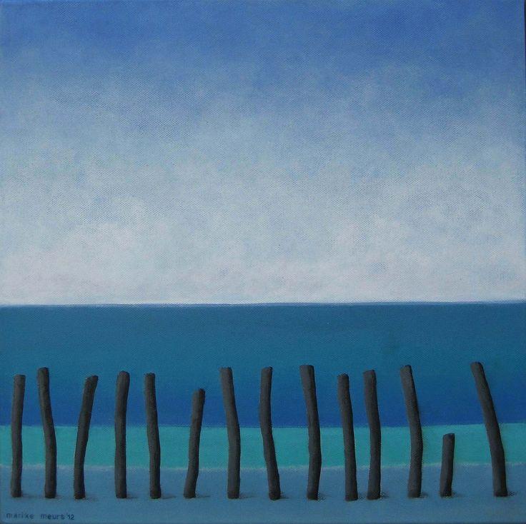 Day at the seasite - acryl on canvas - 40x40 - Marike Meurs